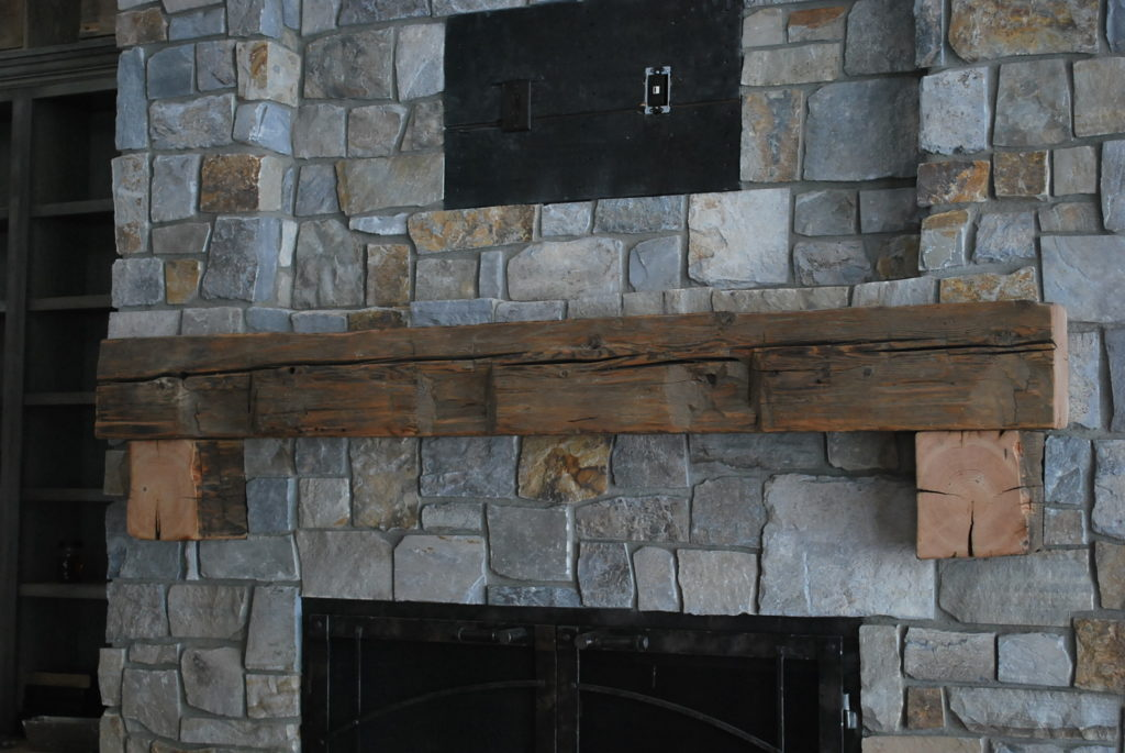 Wire brushed Hand Hewn Mantel